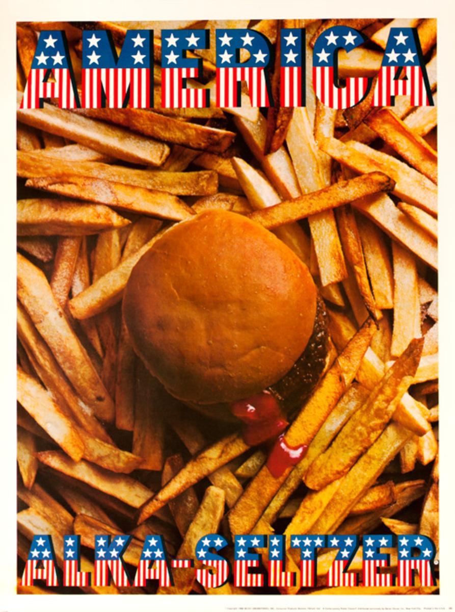 Original Alka Seltzer Advertising Poster America Burger and Fries