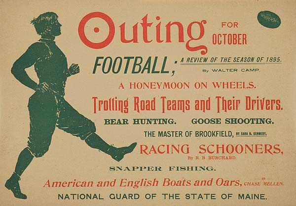Outing for October Football A Review For The Season Original American Magazine Advertising Posters