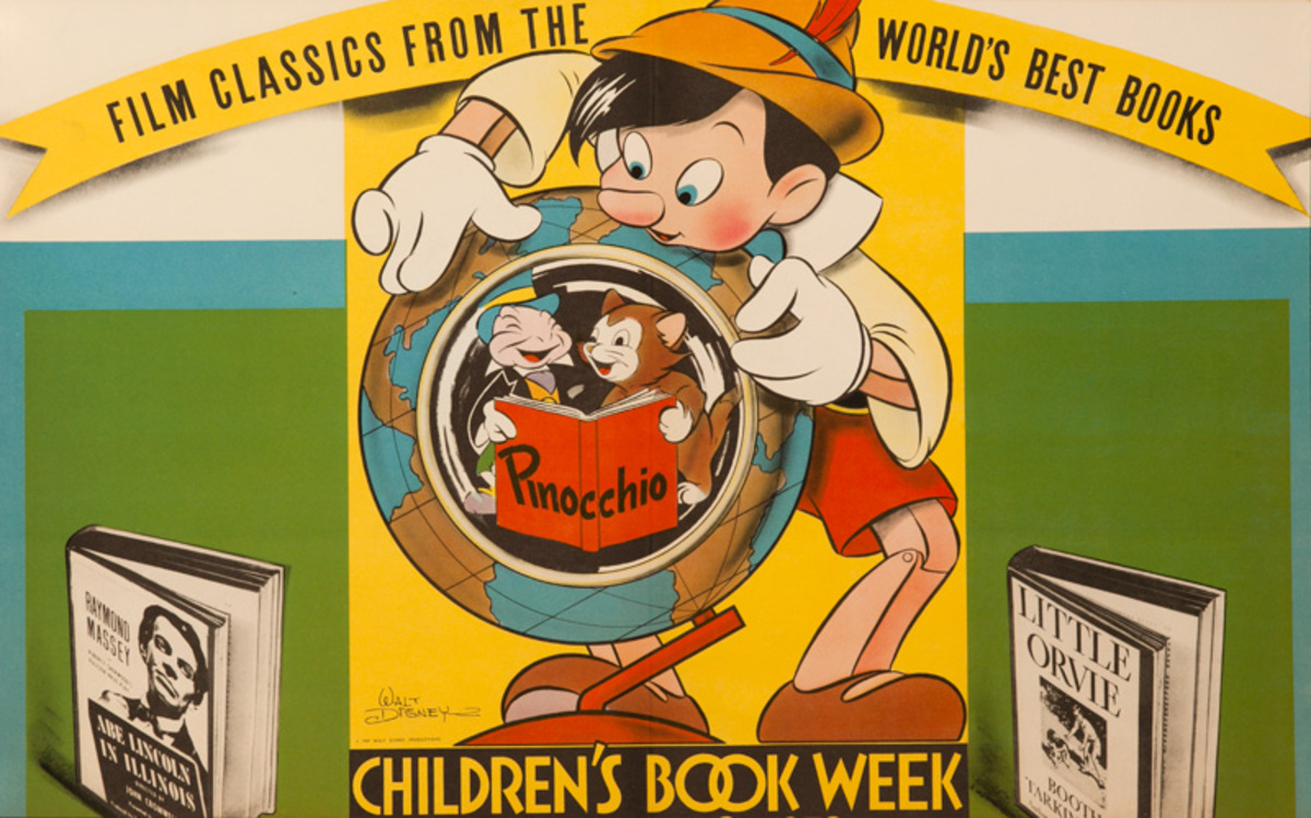 1939 Children's Book week Poster Walt Disney Pinocchio