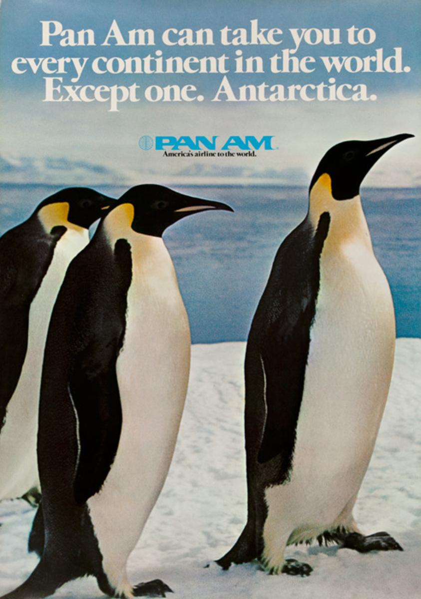 Original Pan Am Travel Poster Antarctica, Penguin
