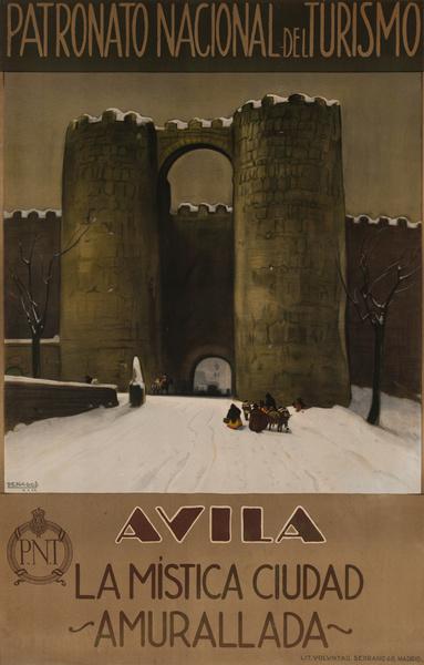 Avila Spain, La Mistica Cuidad, Amurallada Original Spanish Travel Poster, Patronato Nacional de Turismo