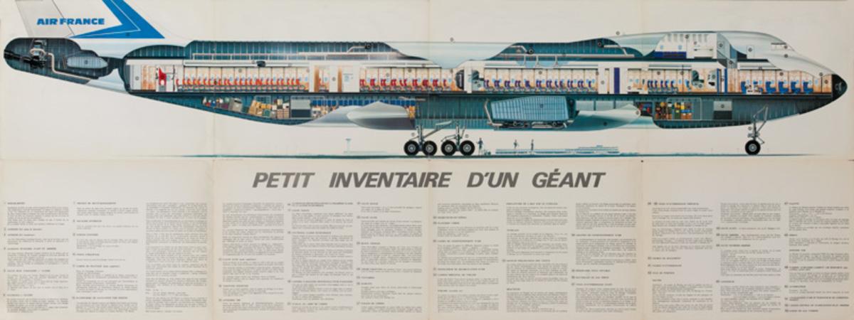 Original Air France 747 Cutaway Brochure Poster, Short Checklist of a Giant