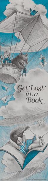 Original Children's Book Council, Book Week Poster, Get Lost in a Book vertical banner