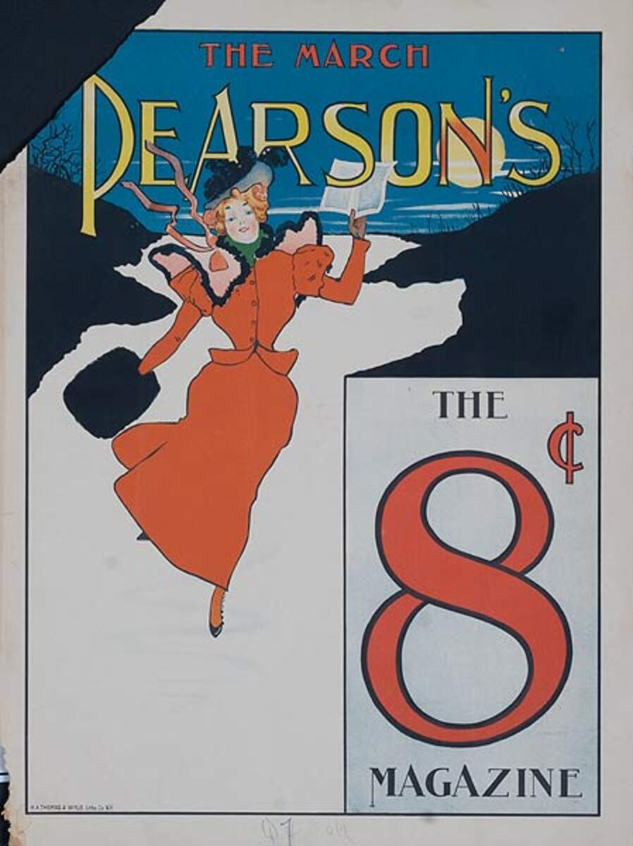 The March Pearson's 8 cents Original American Literary Poster