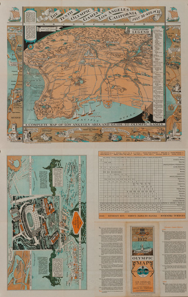 The Tenth Olympic Games Los Angeles California, Original Souvenir Brochure Map