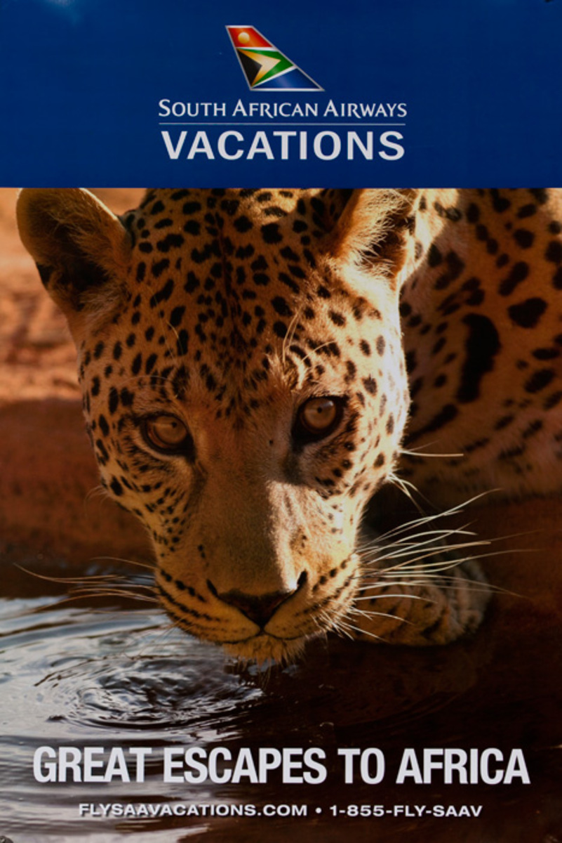 Great Escapes to Africa Original South African Airways Travel Poster leopard
