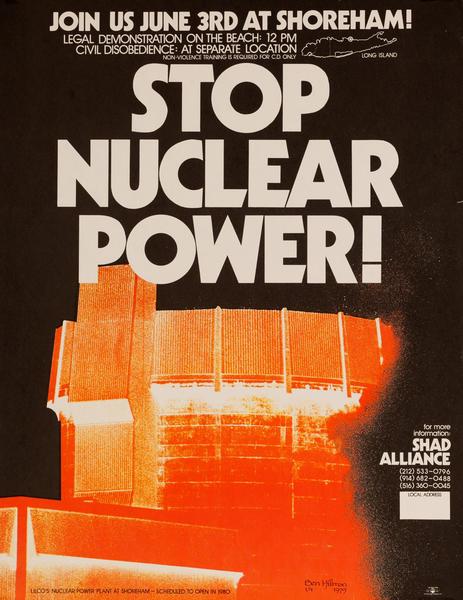 Stop Nuclear Power Original Shad Alliance Anti-Shoreham Power Plant Poster