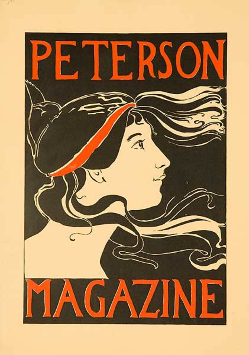 Peterson's Magazone American Literary Poster Woman w/flowing Hair