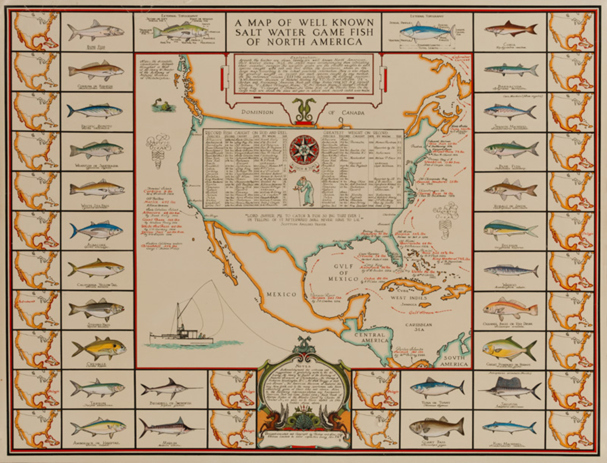 A Map of Well Known Salt Water Fish of North America