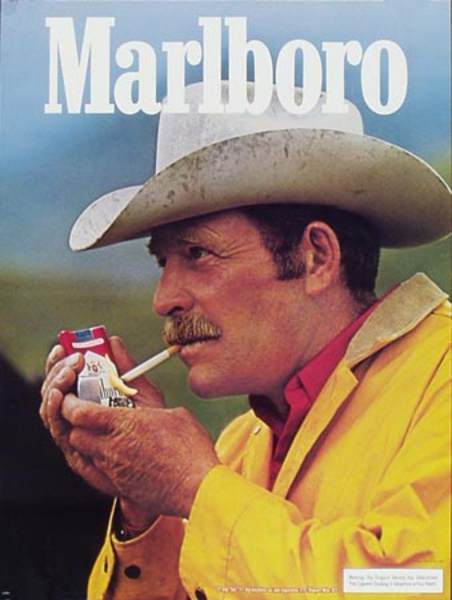 Marlboro Cigarette Cowboy Original Vintage Advertising Poster portrait yellow slicker