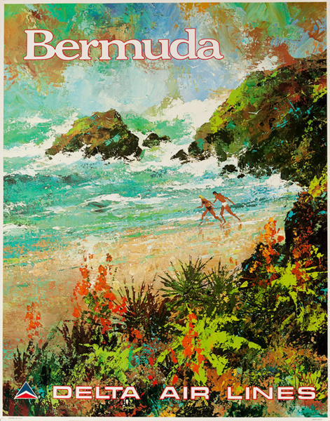 Delta Airlines Original Travel Poster Bermuda Laycox