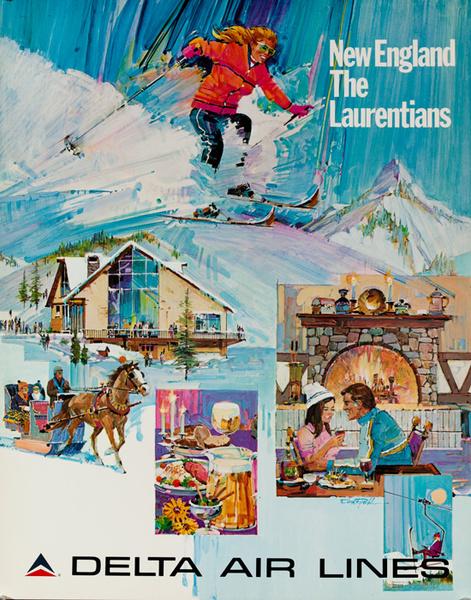 Delta Airlines Original Travel Poster New England The Laurentians