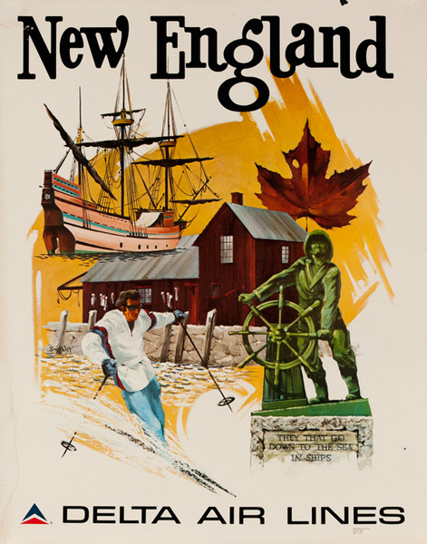 Delta Airlines Original Travel Poster New England