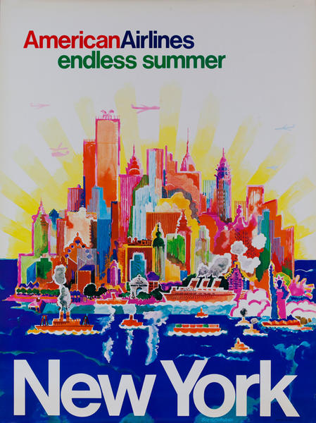 American Airlines Endless Summer New York, Original Travel Poster