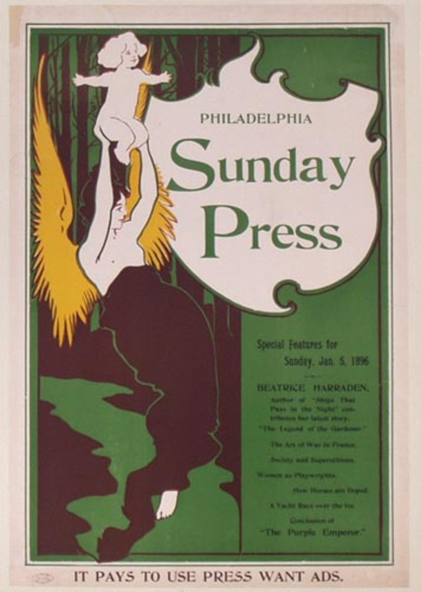 Philadelphia Sunday Press, Jan 5, 1896  Original Vintage Literary Poster