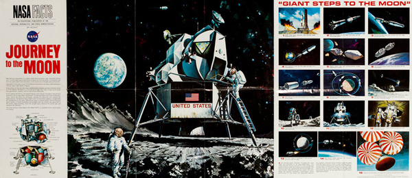 Nasa Facts, Journey to the Moon, Original Space Exploration Poster