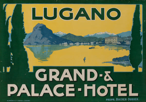 Lugano Switzerland Grand Palace Hotel Original Swiss Travel Poster