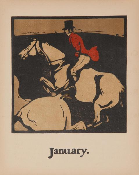 January -  Horse Riding,  Original Sports Print