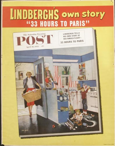 Saturday Evening Post Original Literary Advertising Poster Charles Lindbergh
