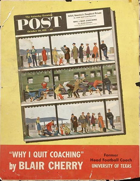 Saturday Evening Post Original Literary Advertising Poster Why I Quit Coaching