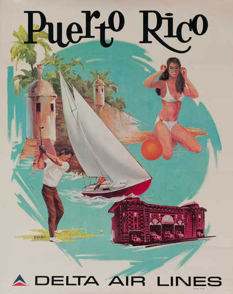 Delta Air Lines Original Travel Poster Puerto Rico, icons