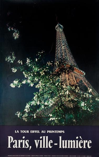 Paris, Ville-Lumiere, France Original Travel Poster Eiffel Tower at Night Photo