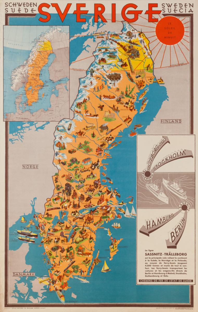 Sweden Original Travel Map Poster
