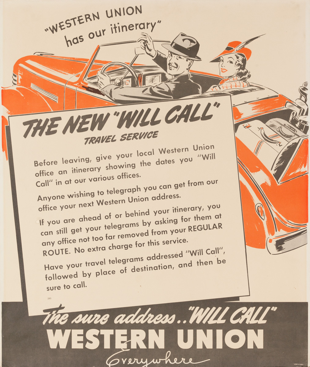 "The New ""Will Call"" Western Union, Original American Telegram Advertising Poster"