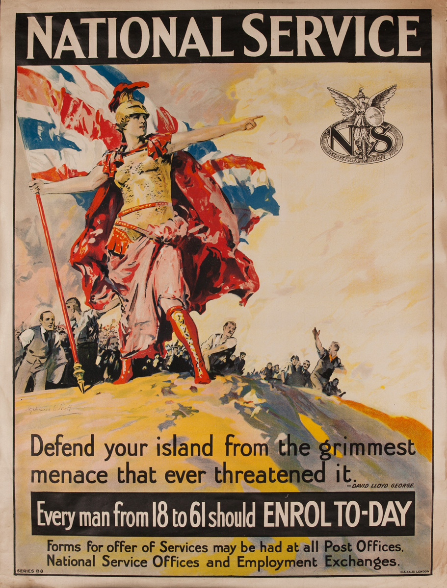 National Service,  Every Man from 18 to 61 should Enrol, Original British WWI Poster