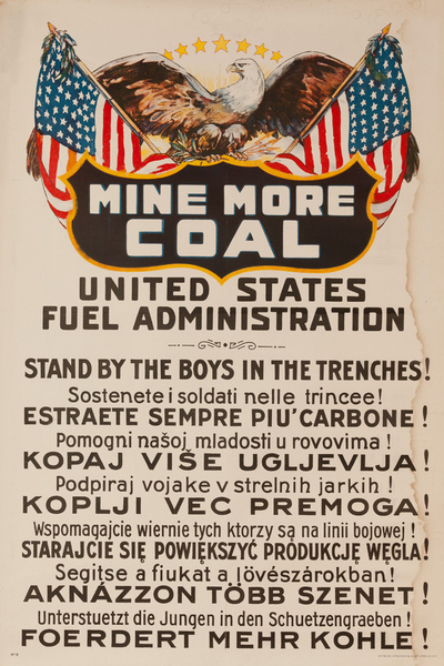 Mine More Coal Original WWI United States Fuel Administration Poster