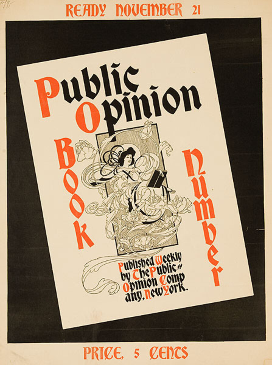 Public Opinion Book Number Original American Literary Poster