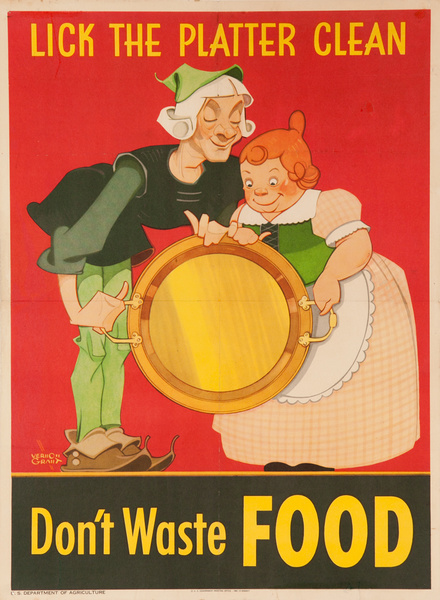 Lick the Platter Clean, Don't Waste Food American Post-WWII Home Front Poster