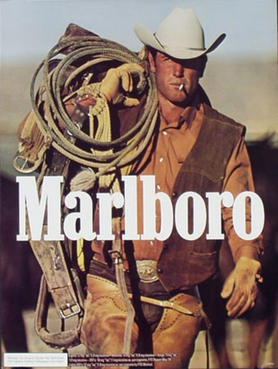 Marlboro Cigarette Cowboy Original Vintage Advertising Poster portrait in chaps