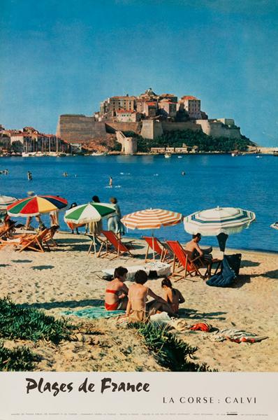 Plages de France La Corse Calve Original French Travel Poster Beaches Corsica & Calvi