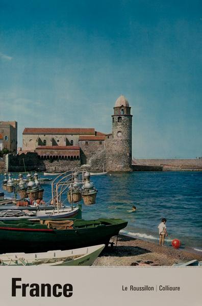 France Le Roussillon Original French Travel Poster Harbor Photo