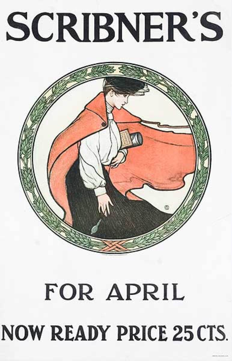 Scribner's April Original American Literary Poster woman in round frame