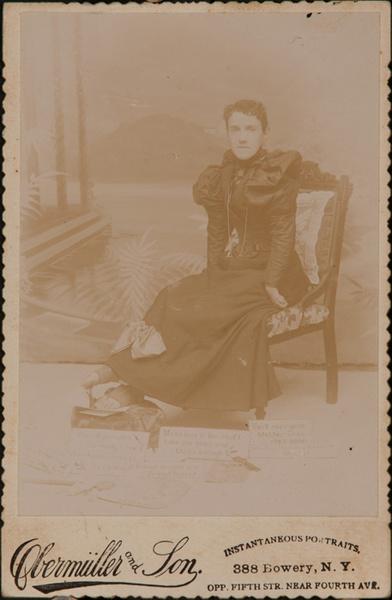 Cabinet Card of Handicapped Craftwoman, Original 19th Century Photogrph
