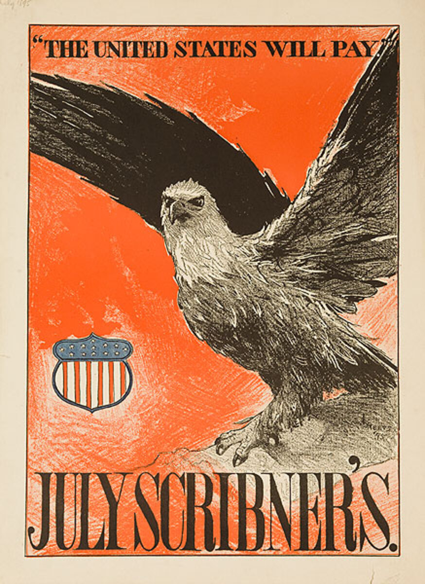 July Scribner's The United States Will Pay Original American Literary Poster