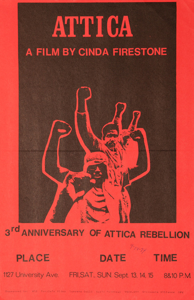 Attica A Film By Cinda Fireston, Original American Protest Poster, red Documentary Movie