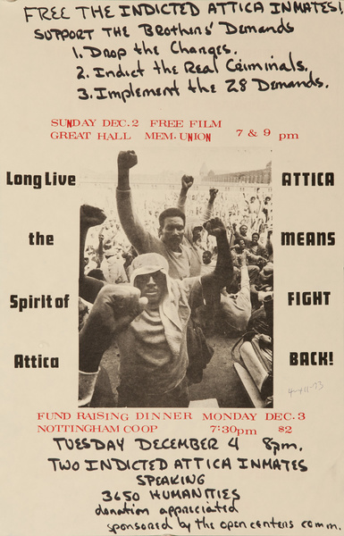 Long Live the Spirit of Attica, Attica Means Fight Back Original American Protest Poster