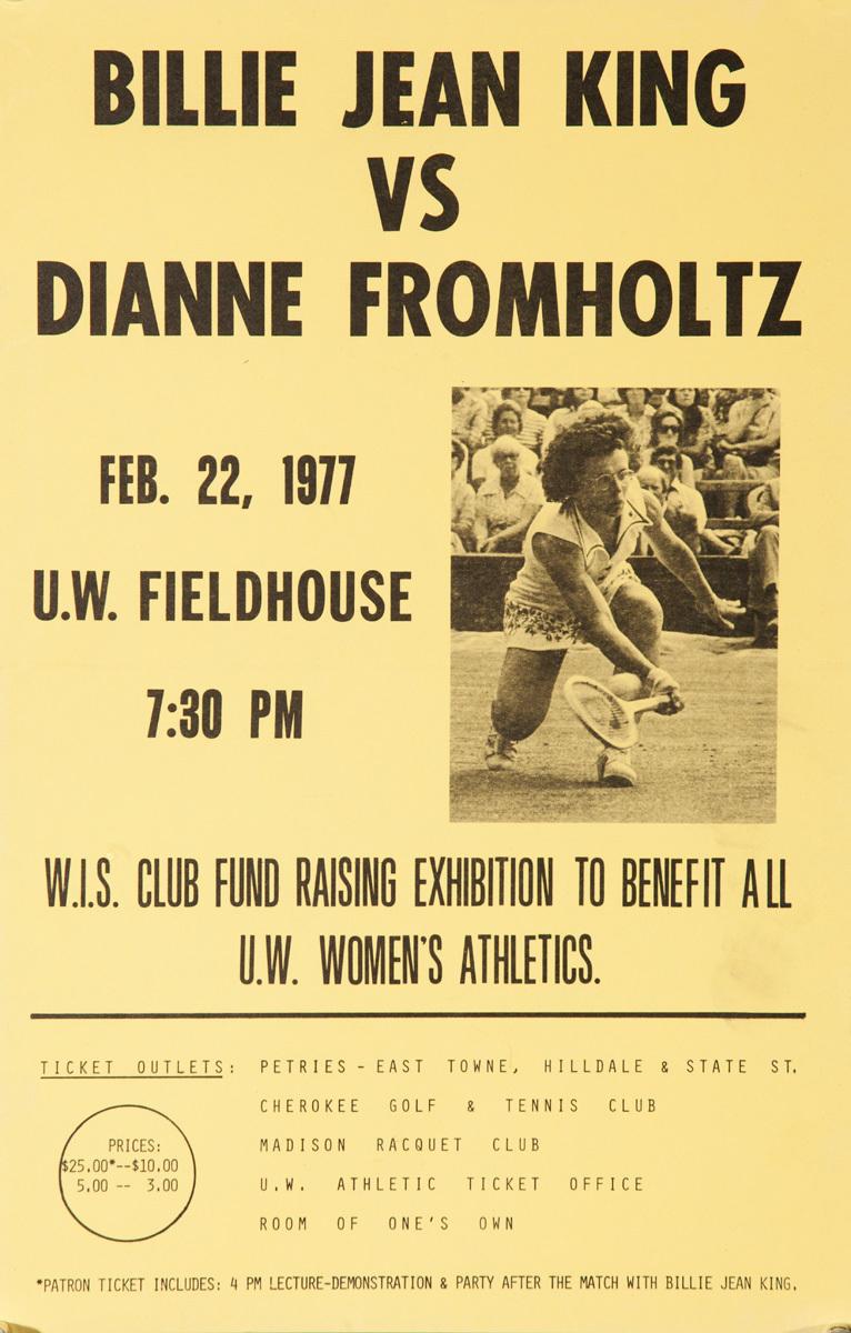 Billie Jean King Vs Dianne Fromholtz, Original American Sports Poster yellow