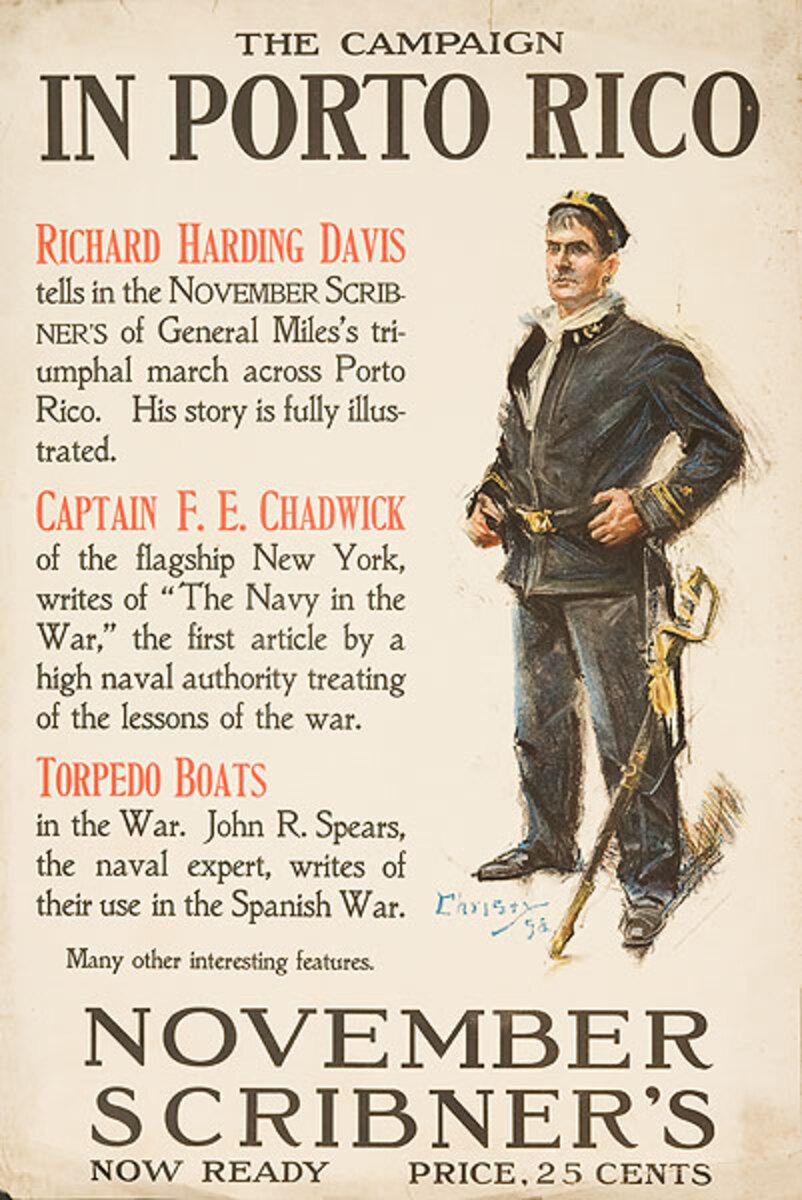 Scribner's November In Porto Rico Original American Literary Poster