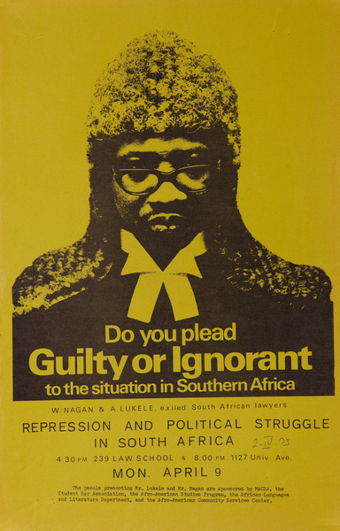 Do You Plead Guilty or Ignorant Original American Protest Poster anti Apartheid South African Political Poster
