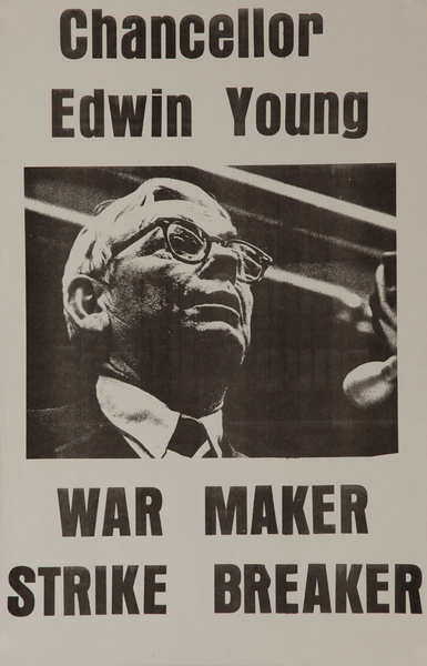 Chancellor Ed Young War Maker, Strike Breaker Original American anti-Vietman War Protest Poster