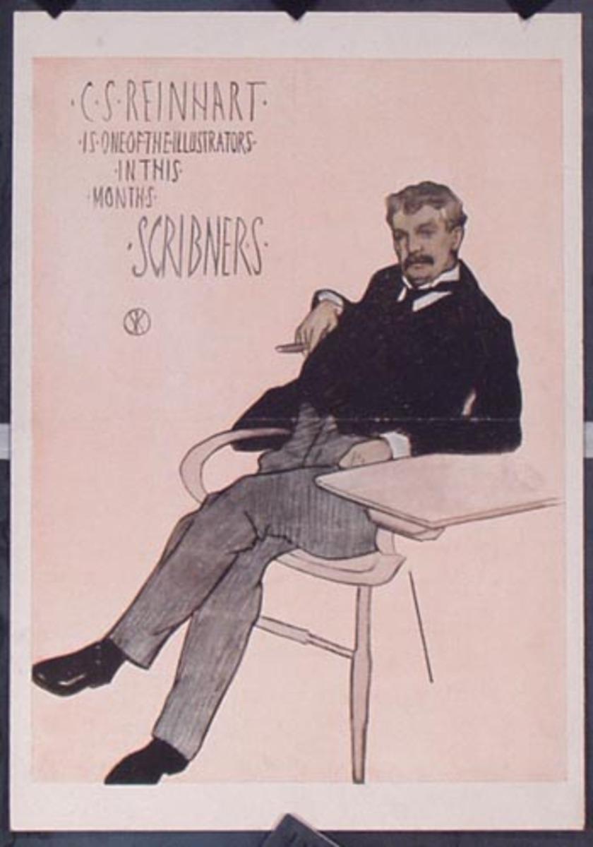Scribner's For February, CS Reinhart Illustrator  Vintage Magazine Poster