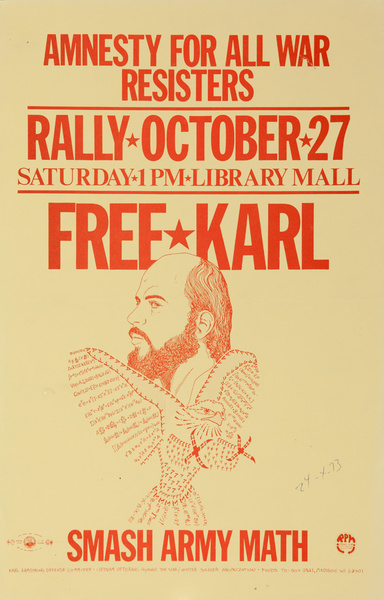 Amnesty For all War Resisters, Free Karl, Smash Army Math, Original American Anti-Vietman War Protest Poster
