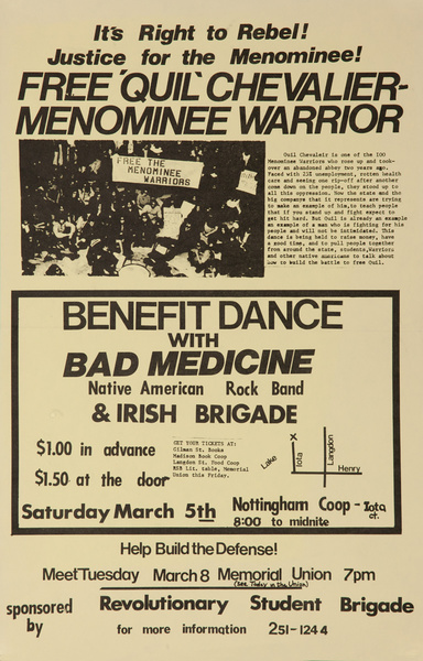 Free Quil Chevalier Menominee Warrier, Original American Indian Movement Protest Poster