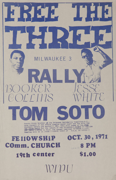 Free the Three Rally, Booker Collins, Jesse White, Tom Soto Original American anti-Vietnam War Protest Poster