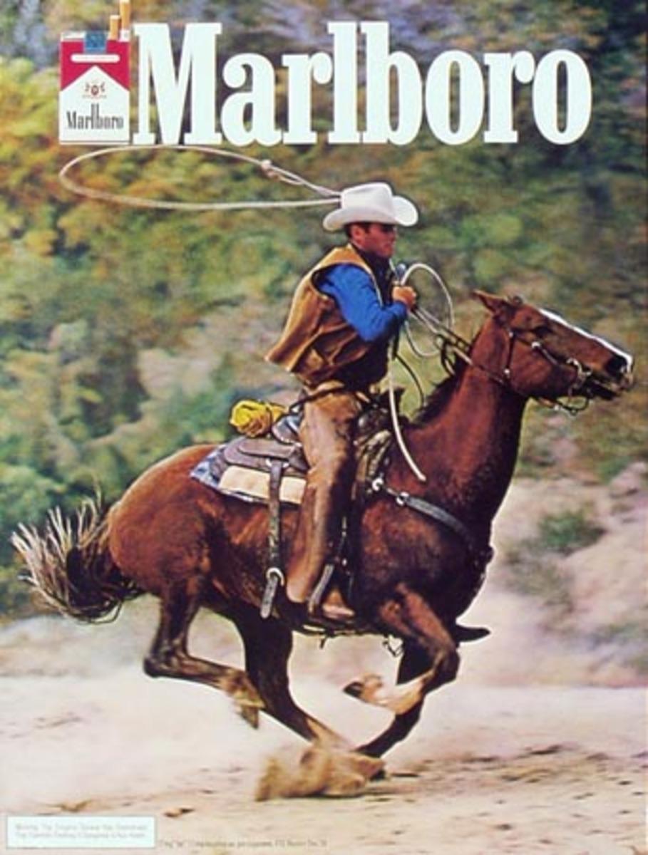 Marlboro Cigarette Cowboy Riding with Lasso Original Vintage Advertising Poster