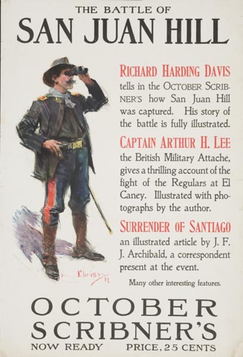 Scribner's Magazine The Battle of San Juan Hill Original Literary Advertising Poster